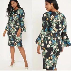 NWT Eloquii floral peplum sleeve dress